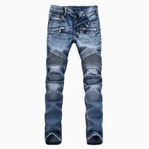 HI-Q 2018 Men Classic Jeans Knee Drape Panel Moto Biker Jeans Size 28-38 - $81.60