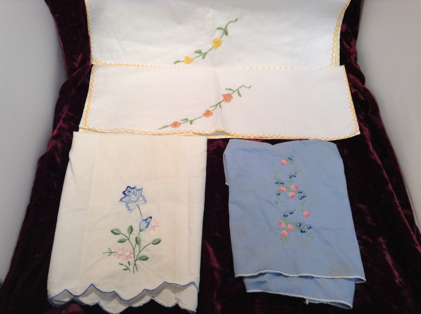 Antique Set of Four Embroidered Floral Hand Towels