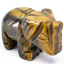 Tiger's Eye Gemstone Tiny Miniature Elephant Figurine Hand Carved in China image 5