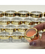 50 Cosmetic Jars Empty Beauty Makeup Containers Gold Acrylic Caps 10 Gra... - $55.95