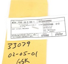 NEW FISHER CONTROLS 1P730438992 PIN GROOVE TYPE F, 3/32X 3557 S31600, FMS20B20