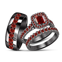 His and Her Engagement Bridal Wedding Band Trio Ring Set 14K Black Gold ... - $168.98