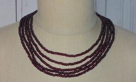 Purple Multi Strand Glass Bead Beaded Choker Silver Tone Necklace Vintage - $24.74