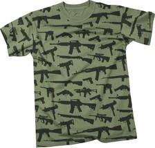 Olive Drab Guns & Rifles Tee 2nd Amendment Rights Vintage Short Sleeve T... - $13.99+