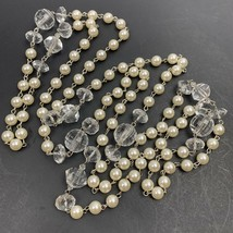 Long Faux Pearl Clear Plastic Beaded Necklace Flapper Length Endless - $14.22