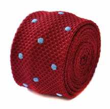 red & light blue polka spot skinny knitted tie by Frederick Thomas FT1886