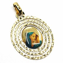 18K YELLOW OVAL GOLD BIG 28mm MEDAL VIRGIN MARY TRIPLE WORKED FRAME & ENAMEL image 1