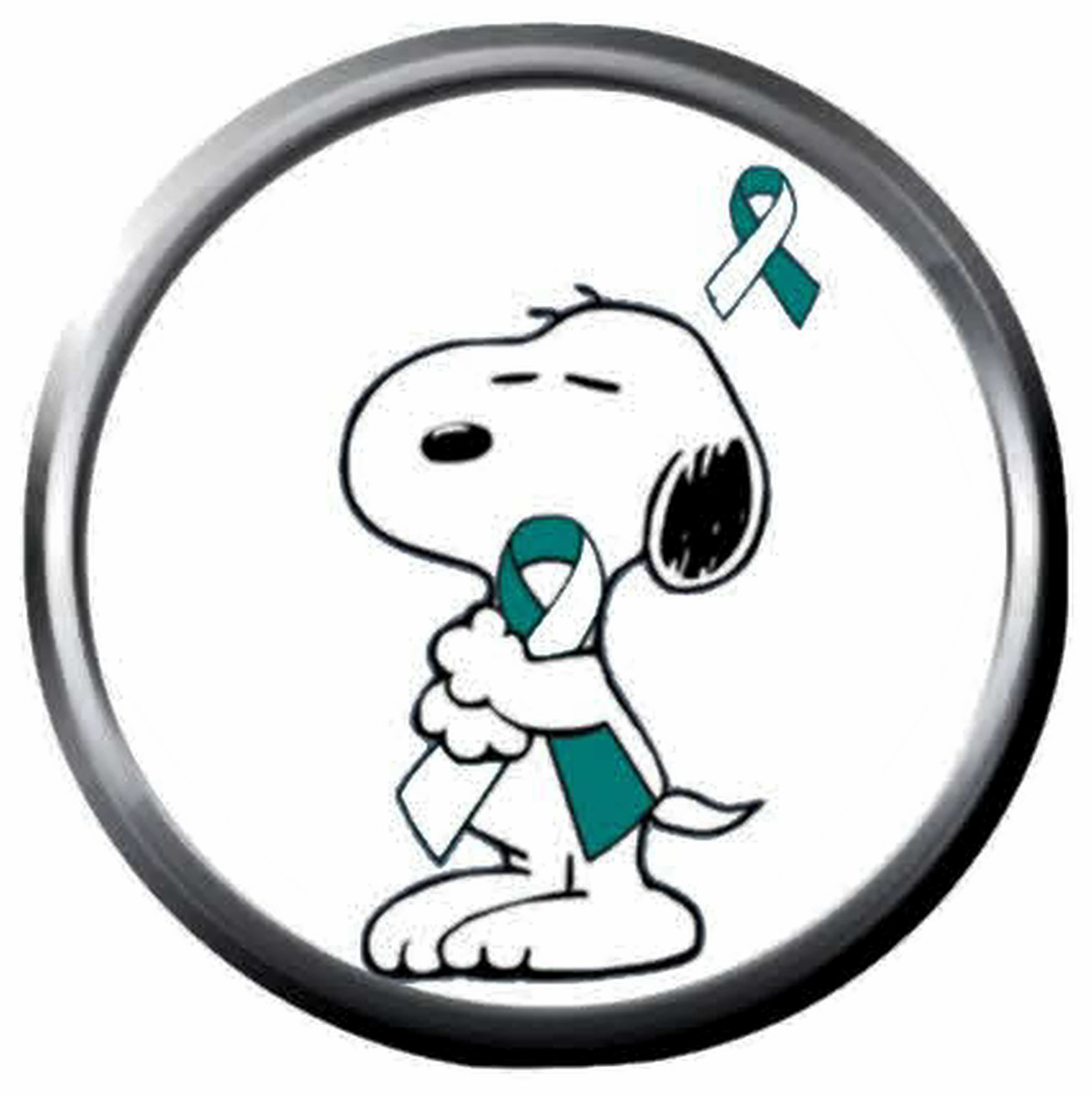 Snoopy Hugs Fight Cervical Cancer Teal White Ribbon 18MM-20MM Snap Jewelry Charm