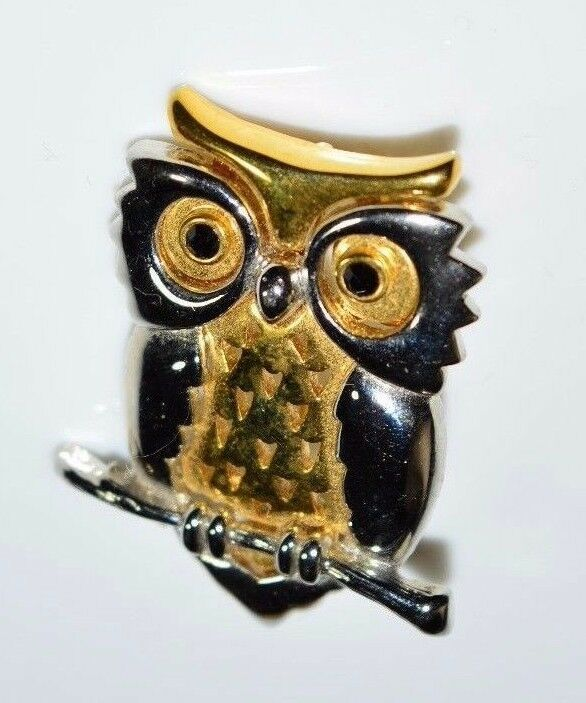 Primary image for VTG DANECRAFT Dual Tone Black Rhinestone Owl Pin Brooch