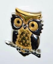 VTG DANECRAFT Dual Tone Black Rhinestone Owl Pin Brooch - $29.70