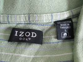 Casual men's green striped polo shirt Size L by Izod MCHE099 - $9.16