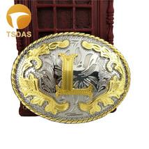 Golden Initial Letter L Metal Belt Buckle Fit 4cm Wide Belt - $13.60