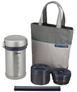 ZOJIRUSHI Thermal Heat Insulation Lunch box Jar Bento Set Silver SL-NC09-ST - £60.26 GBP