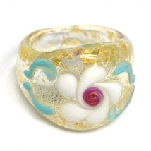 Ring Antica Murrina, Murano Glass, Flower, Wave, Leaf Golden, Band image 1