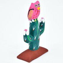 Handmade Alebrijes Oaxacan Wood Carved Painted Folk Art Owl w Cactus Figurine image 4