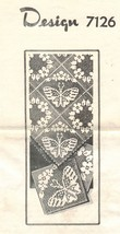 Vtg Design 7126 Butterfly Floral Filet Crochet Squares Bedspread Cotton ... - $11.99