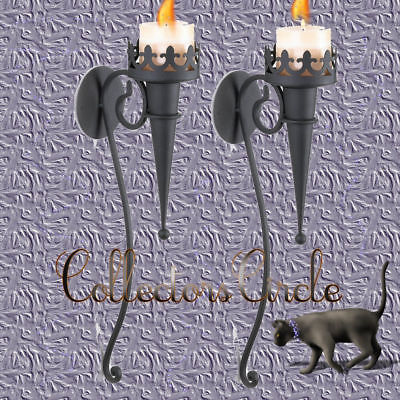 SET 2 Gothic Candle Wall Sconce 39877