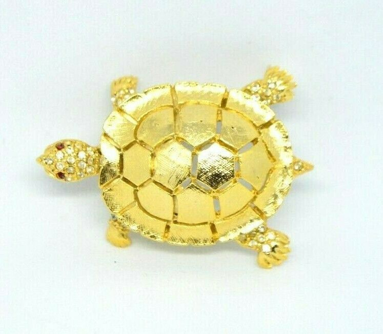 Primary image for Clear Red Rhinestone Turtle Gold Tone Pin Brooch Signed MC58