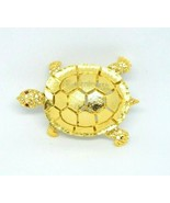 Clear Red Rhinestone Turtle Gold Tone Pin Brooch Signed MC58 - $39.59