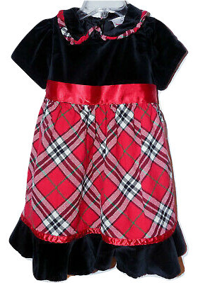 Primary image for Hanna Andersson Holiday Dress sz 80 18-24 Month Black Velvet & Red Plaid Flannel