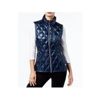 $79.5 Calvin Klein Metallic Quilted Vest Blue M - $62.36