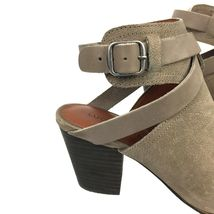 """LUCKY BRAND """"Harum"""" Taupe Bridle LeatherPeep Toe Open Back Booties Size 8 Med image 4"""
