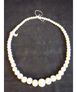 Vintage Hand Carved 8 inch Long Round White Bone? Bead Necklace made in ... - $22.34