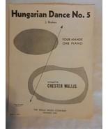 Hungarian Dance No. 5 J. Brahms Four Hands One-Piano Piano Sheet Music 1937 - $11.14