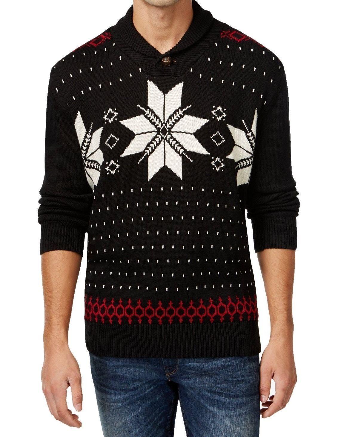 4af84c6448f334 S l1600. S l1600. Previous. Weatherproof Vintage Men's Christmas Sweater  Black Shawl Snowflake Knit Pullover