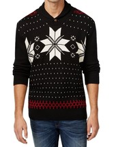Weatherproof Vintage Men's Christmas Sweater Black Shawl Snowflake Knit ... - $26.98
