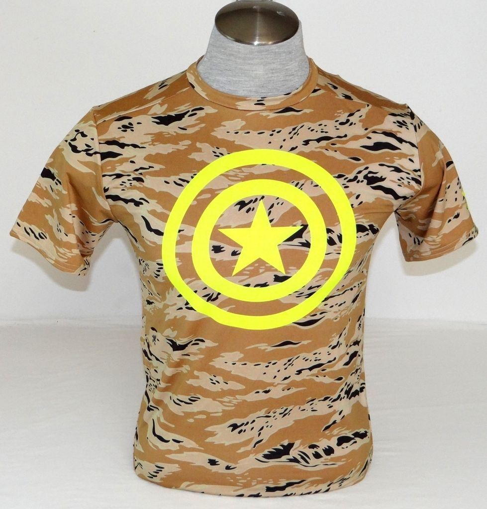 Under Armour Captain America Brown Camo /& Neon Yellow Compression Shirt Mens NWT