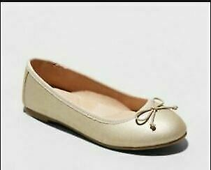 Girls Gold Ballet Flats Youth Size 5 Cat and Jack STACY Padded Insole & Bow