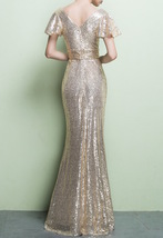 GOLD Maxi Sequin Dress Cap Sleeve High Waist Retro Style Maxi Long Sequin Dress image 8