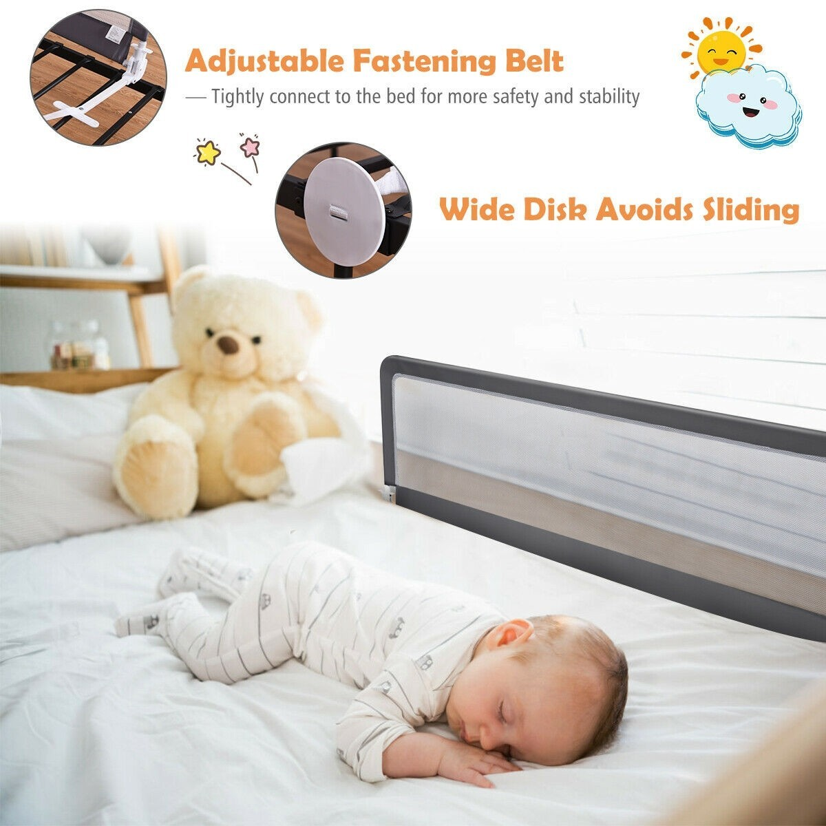 "Primary image for 59"" Breathable Baby Children Toddler Bed Rail"