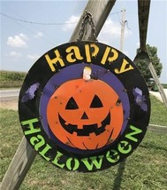 Metal Happy Halloween Sign, Halloween Home Decor, Fall Autumn Pumpkin Si... - $99.00