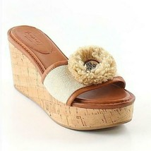 Coach Jazmin Brown Leather/Canvas Cork Wedge Women's Sandals Slides Sz 9.5 M - $47.02