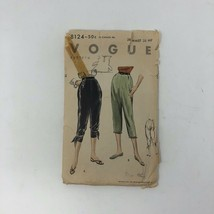 1953 Vintage VOGUE Sewing Pattern 8124 Pants Rockabilly Pin up High wais... - $45.22
