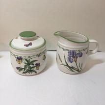 "Creamer & Sugar Bowl with Lid Studio Nova Garden Bloom 4"" tall - $29.02"