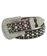 Western Style Bling! Brown Leather Adult Belt w/Removable Buckle Ladies ... - $28.80