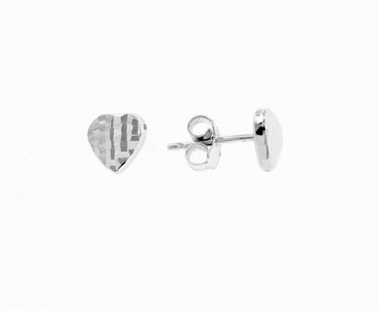 18K WHITE GOLD EARRINGS WITH VERY SHINY HEART LOVE WORKED MADE IN ITALY 0.28 IN