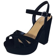 BAMBOO Women's Simple Platform Chunky Heel Sandal, Black Nubuck PU, 10.0... - $31.89