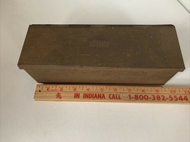"""Vintage Tin Metal Box with """"THERMOS"""" Stamped on top -hinged lid -about 1... - $40.00"""