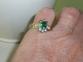 VINTAGE Size 7 EMERALD & DIAMOND RING 18 KT GE Yellow GOLD Cocktail OVAL... - $19.30