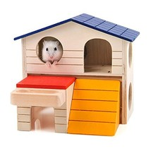 BWOGUE Pet Small Animal Hideout Hamster House Deluxe Two Layers Wooden H... - $19.45