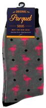 Pink Flamingo Socks Mens Fun Novelty Crew Gray Casual Cotton Blend Anima... - $12.95