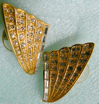 NAPIER LARGE GOLD TONE CLEAR CRYSATAL FAN WING DESIGN EARRINGS - $30.89