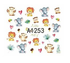 Water Transfer Watermark Art Nails Decal Sticker Manicure Lion Elephant ... - $1.84