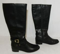 Soda HIROS Black Zip Up Riding Boot Gold Colored Accents Size Six image 3