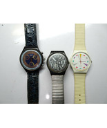 SWATCH LOT OF 3 SWISS WATCHES 1 CHRONOGRAPH FOR RESTORATION BANDS - $153.84