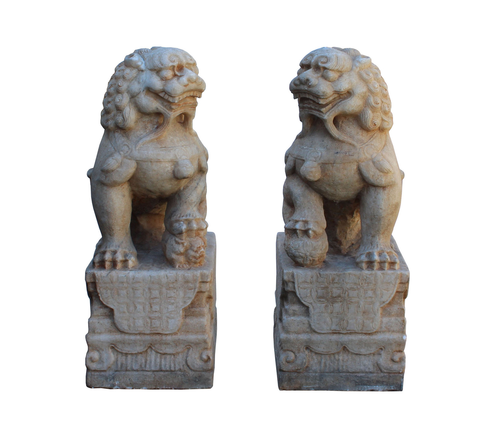Chinese Pair Off White Marble Stone Fengshui Foo Dogs Statues cs3224